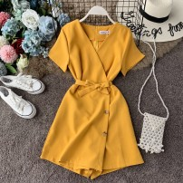 Casual pants Black, red, pink, blue, yellow Average size Summer of 2019 shorts Jumpsuit High waist commute routine 18-24 years old 31% (inclusive) - 50% (inclusive) Korean version Bandage