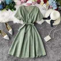 Dress Spring 2020 Red, pink, yellow, blue, green Average size Mid length dress singleton  Short sleeve commute V-neck High waist lattice Single breasted A-line skirt other Others 18-24 years old Type A Korean version Frenulum 31% (inclusive) - 50% (inclusive) other other