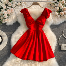 Dress Summer 2021 White, black, red M, L Middle-skirt singleton  Short sleeve commute V-neck High waist Solid color zipper A-line skirt other Others 18-24 years old Type A Korean version Ruffles, zippers 30% and below other other