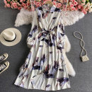 Dress Summer 2021 white Average size Mid length dress singleton  Long sleeves commute Polo collar High waist Decor Socket A-line skirt puff sleeve 18-24 years old Type A Korean version Bandage 30% and below other other