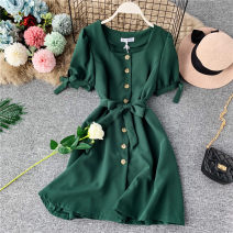 Dress Summer of 2019 Yellow, green, red, pink, black Average size Middle-skirt singleton  Short sleeve commute square neck High waist Solid color Single breasted Princess Dress puff sleeve Others 18-24 years old Type A Korean version Ruffle, open back, lace, wave, button
