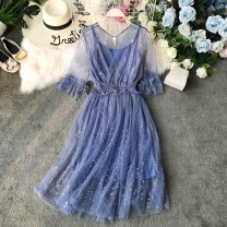 Dress Summer of 2019 Black, pink, apricot, blue, light blue Average size Mid length dress singleton  Short sleeve commute V-neck High waist Solid color Socket Princess Dress pagoda sleeve Others 18-24 years old Type A Korean version Ruffles, open back, sequins, gauze mesh