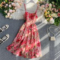 Dress Summer 2020 Pink S,M,L Mid length dress singleton  Sleeveless commute Crew neck High waist Decor zipper A-line skirt camisole 18-24 years old Type A Korean version 30% and below