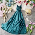 Dress Summer 2020 S,M,L Mid length dress singleton  Sleeveless commute V-neck High waist Solid color Socket Big swing other camisole 18-24 years old Type A Korean version