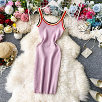 Dress Summer 2020 Pink, white, black, blue Average size Mid length dress singleton  Sleeveless commute Crew neck High waist Solid color Socket Pencil skirt camisole 18-24 years old Type X Korean version Open back, stitching 30% and below knitting acrylic fibres