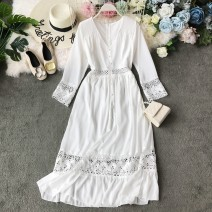 Dress Summer of 2019 White, red Average size Mid length dress singleton  Long sleeves commute V-neck High waist Solid color Socket Princess Dress other Others 18-24 years old Type A Korean version Hollowing, pleating, open back, pleating, Gouhua, hollowing, splicing, asymmetry, wave, lace Chiffon