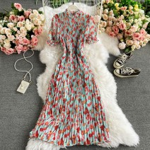 Dress Winter 2020 Lake blue Average size Mid length dress singleton  Short sleeve commute Crew neck High waist Decor Socket A-line skirt routine Others 18-24 years old Type A Korean version 30% and below other other