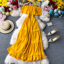 Dress Summer 2020 Black, dark blue, yellow, red Average size Mid length dress singleton  Sleeveless commute One word collar High waist Solid color Socket A-line skirt Breast wrapping 18-24 years old Type A Korean version Ruffles, pleats, open back, stitching, asymmetry, wave 30% and below other other