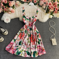 Dress Spring 2021 white S,M,L,XL Short skirt singleton  Long sleeves commute square neck High waist Decor Socket Big swing routine straps 18-24 years old Type A Korean version Ruffle, pleat, open back, asymmetric, button, print 30% and below other other