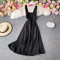 Dress Winter 2020 black S,M,L,XL Mid length dress singleton  Long sleeves commute square neck High waist Solid color Socket A-line skirt routine Others 18-24 years old Type A Korean version 30% and below other other