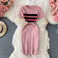 Dress Summer 2021 Black, gray, khaki, army green, pink, navy blue Average size Mid length dress singleton  Short sleeve commute Crew neck High waist Solid color Socket A-line skirt routine 18-24 years old Type H Korean version fold 30% and below other other