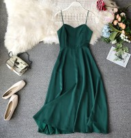 Dress Summer of 2019 Green, white, pink, khaki, Burgundy S, M Mid length dress singleton  Sleeveless commute V-neck High waist Solid color Socket A-line skirt other camisole 18-24 years old Type A Korean version Bow tie, open back, lace, bandage