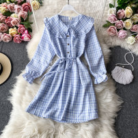 Dress Autumn 2020 Violet, sky blue, apricot, black, light blue, red Average size Mid length dress singleton  Long sleeves commute Lotus leaf collar High waist lattice Socket A-line skirt routine Others 18-24 years old Type A Korean version 30% and below other other