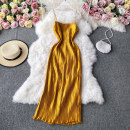 Dress Autumn 2020 White, black, gold S,M,L Mid length dress singleton  Long sleeves commute square neck High waist Solid color Socket A-line skirt routine camisole 18-24 years old Type A Korean version 30% and below other other