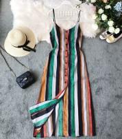 Dress Summer of 2019 green S,M,L,XL Mid length dress singleton  Sleeveless commute V-neck High waist stripe Socket other other camisole 18-24 years old Type H Korean version Chiffon