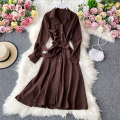 Dress Autumn 2020 Army green, dark blue, black M, L Mid length dress singleton  Long sleeves commute Polo collar High waist Solid color Socket A-line skirt routine Others 18-24 years old Type A Korean version 30% and below other other
