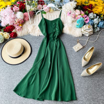 Dress Summer 2020 Light green, watermelon red, rose red, red, black, sapphire blue, orange, green Average size Mid length dress singleton  Sleeveless commute V-neck High waist Solid color Socket other other camisole 18-24 years old Type A Korean version