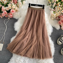 skirt Summer 2021 Average size Camel, black, off white longuette commute High waist A-line skirt Solid color Type A 18-24 years old 30% and below polyester fiber Gauze