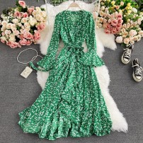 Dress Spring 2021 Black, red, yellow, green Average size Mid length dress singleton  Long sleeves commute V-neck High waist Decor Socket A-line skirt routine Others 18-24 years old Type A Korean version 30% and below other other