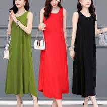 Dress Summer 2021 1, 2, 3, 4, 5, 6, 7, 8, 9, 10 XL,2XL,3XL,4XL,5XL longuette singleton  Sleeveless commute Crew neck Loose waist Solid color routine Type A Korean version