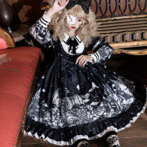 Dress Spring 2021 black S,M,L Mid length dress singleton  Long sleeves Sweet Doll Collar middle-waisted Cartoon animation zipper Princess Dress shirt sleeve Others Under 17 Type A Other / other Bowknot, ruffle, lace, stitching, lace, printing Dark Lolita winter dress brocade cotton Lolita