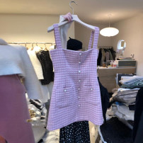 Dress Spring 2021 Pink S,M,L,XL Short skirt singleton  Sleeveless commute square neck High waist lattice Socket A-line skirt other straps 18-24 years old Type A Korean version Resin fixation More than 95% other other