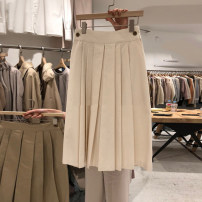 skirt Summer 2020 S,M,L,XL Apricot, Khaki Mid length dress commute High waist Pleated skirt Solid color Type A 18-24 years old More than 95% other cotton Resin fixation Korean version