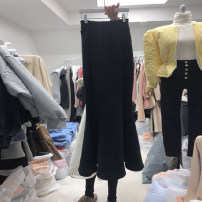 skirt Spring 2021 S,M,L,XL Black, orange Mid length dress commute High waist skirt Solid color Type A 18-24 years old More than 95% other other Resin fixation Korean version