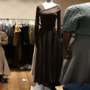 Dress Autumn 2020 Brown, black S,M,L,XL longuette singleton  Long sleeves commute Slant collar High waist Solid color Socket Pleated skirt routine Others 18-24 years old Type X Korean version Fold, resin fixation More than 95% other other