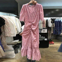 Dress Summer 2020 White, pink S,M,L,XL Mid length dress singleton  Short sleeve commute V-neck High waist Solid color Socket Ruffle Skirt routine Others 18-24 years old Type H Korean version More than 95% other other