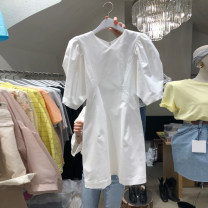 Dress Summer 2020 White, black S,M,L,XL Mid length dress singleton  Short sleeve commute V-neck High waist Solid color Socket A-line skirt puff sleeve Others 18-24 years old Type A Korean version Resin fixation More than 95% other cotton