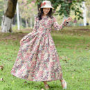 Dress Autumn of 2019 Picture color L,XL,2XL longuette singleton  Long sleeves commute V-neck Loose waist Broken flowers Big swing routine Others 40-49 years old Type A Other / other Retro Pocket, print 51% (inclusive) - 70% (inclusive) cotton