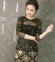 Dress Summer 2021 Black gold, apricot gold M, L Short skirt Two piece set Crew neck Taoren 51% (inclusive) - 70% (inclusive) Lace