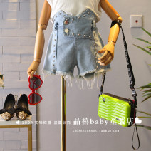 trousers Other / other female Denim blue summer shorts Korean version No model Jeans Leather belt High waist Denim Don't open the crotch Other 100% Three, four, five, six, seven, eight, nine, ten, eleven, twelve