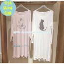 Pajamas / housewear set lovers Youke Youlan Short sleeve top + trousers 2 sets, single long sleeve nightdress, single short sleeve nightdress, short sleeve + Shorts 2 sets White, pink cotton
