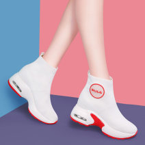 Boots 34 35 36 37 38 39 Ml8411-2 black [collection and purchase, free coupons] ml841-2 red [collection and purchase, free coupons] Textile Molecole / molecole Middle heel (3-5cm) Muffin bottom Textile Middle cylinder Round head cloth cloth Summer of 2019 Sleeve leisure time rubber Solid color 8411-1