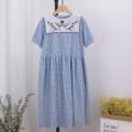 Dress Summer 2020 Blue, black Average size Mid length dress Short sleeve Sweet F1140 More than 95% cotton college