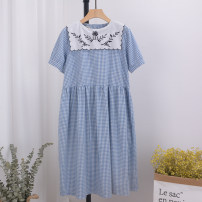Dress Summer 2020 Blue, black Average size Mid length dress Short sleeve Sweet F1140 More than 95% cotton college