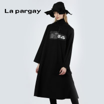 Dress Autumn of 2019 black XS S M L XL Mid length dress singleton  Long sleeves street Hood Elastic waist Solid color Socket A-line skirt routine 25-29 years old Type A La pargay L57309006C 81% (inclusive) - 90% (inclusive) cotton Cotton 88.9% polyester 11.1% Europe and America