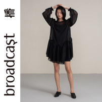 Dress Summer 2020 K40 black P30 electric violet XS S M L XL Short skirt Two piece set Long sleeves commute Crew neck Loose waist Solid color Socket A-line skirt other 25-29 years old Type A Broadcast / broadcast literature Splicing BDN7LD911 More than 95% Chiffon polyester fiber Polyester 100%
