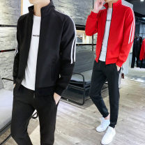 Sweater Youth fashion Others M,L,XL,2XL,3XL,4XL Solid color Cardigan Thin money stand collar spring Slim fit motion teenagers tide routine CY105 Polyester 95% polyurethane elastic fiber (spandex) 5% Rib bottom pendulum Three dimensional bag zipper