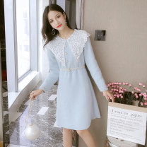 Dress Spring of 2019 Off white, blue S,M,L,XL Middle-skirt singleton  Long sleeves commute Crew neck middle-waisted Solid color Socket A-line skirt routine Type A Other / other Korean version