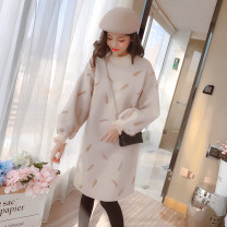 Dress Autumn of 2018 Apricot, light brown S,M,L,XL,2XL Middle-skirt singleton  Long sleeves commute Half high collar Loose waist Socket A-line skirt routine Type A Korean version Embroidery