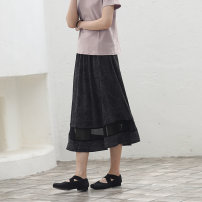 skirt Summer of 2019 S,M,L Black grey longuette Retro Natural waist A-line skirt Dot Type A 91% (inclusive) - 95% (inclusive) other Sishan Wenye cotton