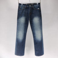 Jeans Fashion City Others 28 / 30 waist (2.30 feet) length 99, 40 / 32 waist (3.18 feet) length 110, 44 / 32 waist (3.50 feet) length 110 Dark blue (washed) thick Regular denim trousers Other leisure Cotton 100% winter middle-waisted Fit flared pants American leisure horn zipper Five bags