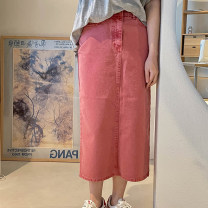 skirt Summer 2021 S, M Watermelon red longuette commute Natural waist skirt Solid color Type H 51% (inclusive) - 70% (inclusive) cotton Korean version