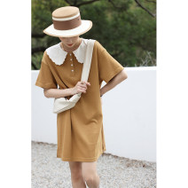 Dress Spring 2021 Black, Khaki S, M Mid length dress singleton  Short sleeve commute Doll Collar Loose waist Socket A-line skirt routine 18-24 years old Type A Reminiscence literature Q6700 51% (inclusive) - 70% (inclusive) cotton