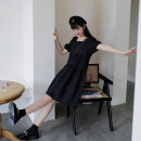 Dress Spring 2020 S, M Mid length dress singleton  Short sleeve commute square neck Loose waist Solid color Socket puff sleeve 18-24 years old Type A Reminiscence Retro More than 95% cotton