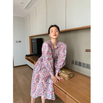 Dress Spring 2021 S,M,L Mid length dress singleton  Long sleeves commute Crew neck High waist Decor Socket Big swing puff sleeve Others Type X Simplicity Button, lace up More than 95% cotton