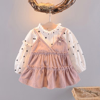 Dress female Other / other 66cm,73cm,80cm,90cm,95cm,100cm Other 100% spring and autumn Korean version Long sleeves Dot cotton A-line skirt 3 months, 12 months, 6 months, 9 months, 18 months, 2 years old, 3 years old